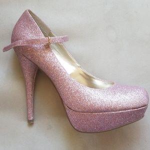 Pink glitter heels sz 8.5 Steve Madden